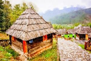 Watercolor-Serbia-Drvengrad